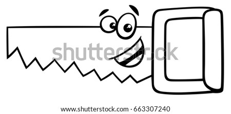 black white cartoon illustration wood saw stock illustration rh shutterstock com saw clipart png saw clipart images