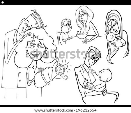 Black and White Cartoon Illustration Set of Parents with Children and Babies for Coloring Book