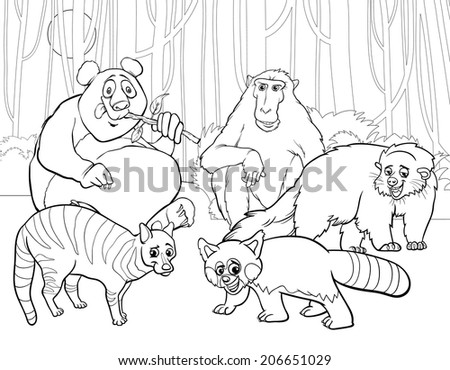 Black And White Cartoon Illustrations Of Funny Asian Mammals Animals  Characters Group For Coloring Book