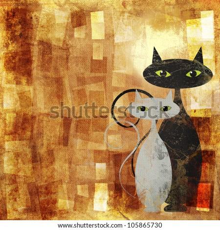 Black and white cat on orange grunge canvas - stock photo