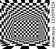 Black and white checkered abstract room - stock photo