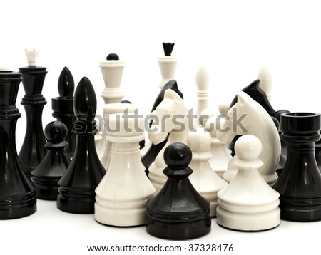 black and white chess figures against the white background