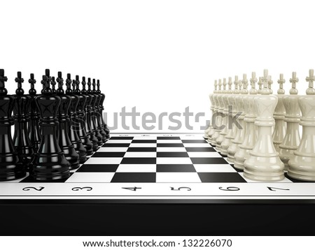 Black and white chess kings stand in a row opposite Black and white chess kings stand in a row opposite to each other on a chessboard, 3d render - stock photo