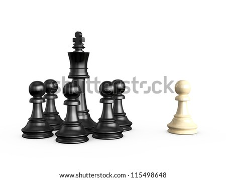 Black and white chess pieces, isolated on white background. - stock photo