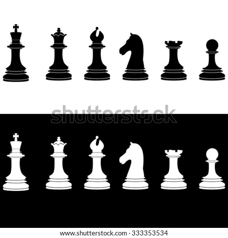 Black and white chess pieces raster icon set - with king, u, bishop, knight, rook, pawn