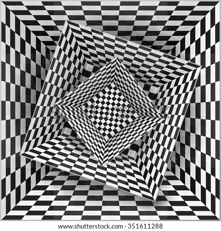 Black and white chessboard pattern boxes, abstract background - stock photo