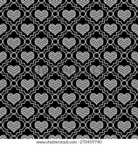 Black and White Chevron Hearts Tile Pattern Repeat Background that is seamless and repeats - stock photo