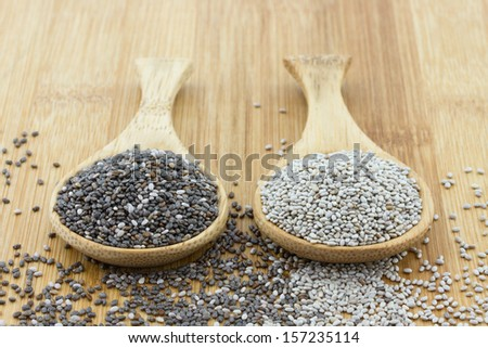 black and white chia seeds on wooden spoon - stock photo