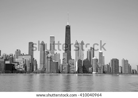 Black and white Chicago - stock photo