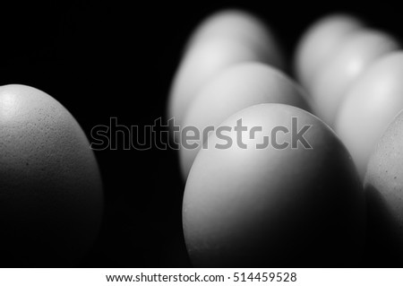 Black and white chicken eggs