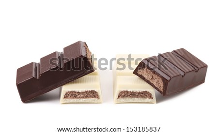 Black and white chocolate bars with filling.