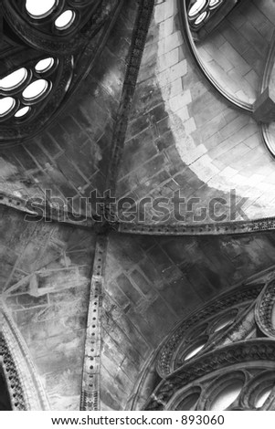 Black and white church ceiling.