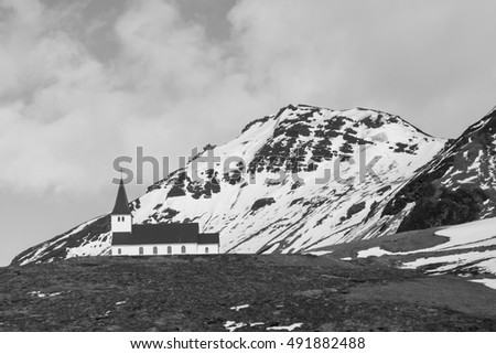 Black and White, Church on hill during winter season located in Vik Iceland