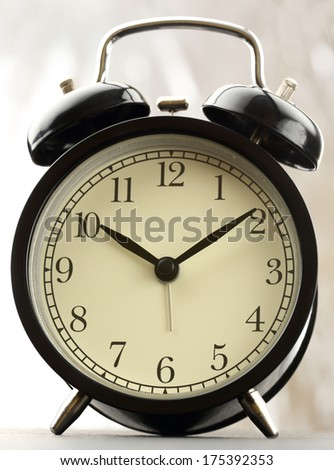 Black and white classic alarm clock