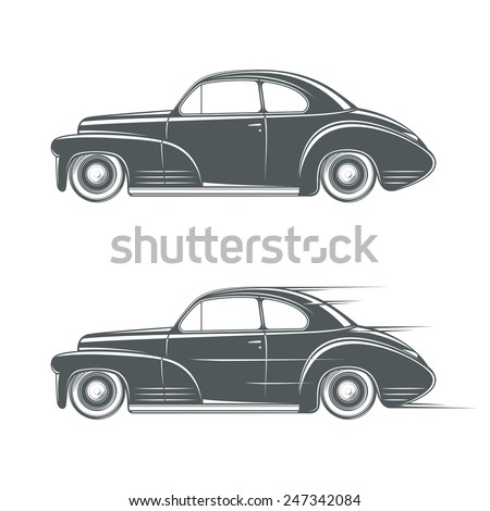Black and white classic car icon
