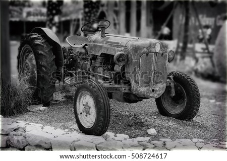 Black and White Classic Old Tractor Vintage