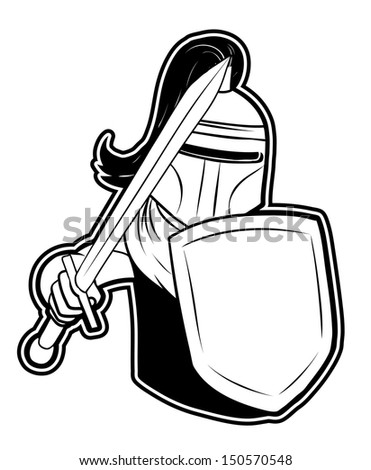 black and white clipart knight - stock photo