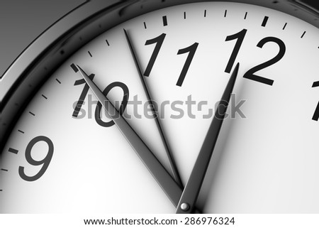 Black and White Clock Close up 3D Illustration