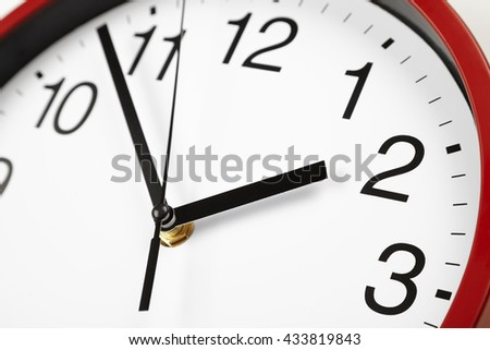 black and white clock face, midday on the clock, time close-up