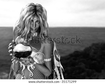Black and White close up of beautiful Mermaid Queen carrying a shinny orb ball. Illustration - stock photo