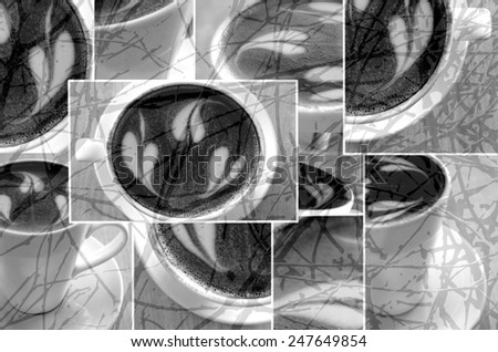 Black and White Coffee Collage - stock photo