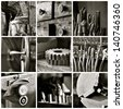 Black and white collage of various old machine shop images. - stock photo