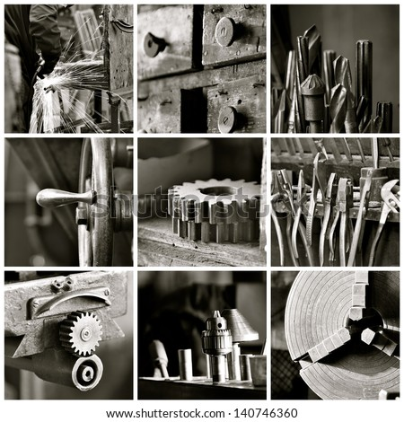 Black and white collage of various old machine shop images.