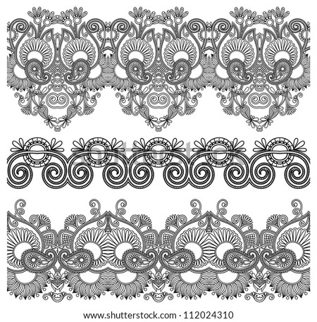 black and white collection of seamless ornamental floral stripes. Raster version