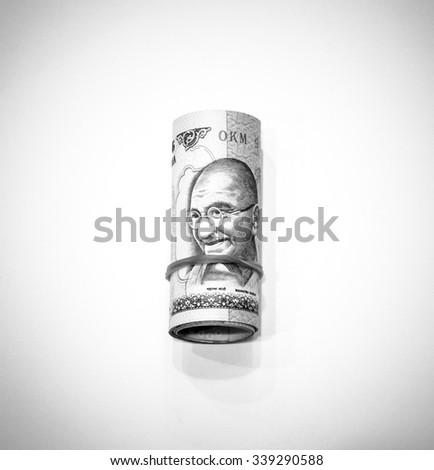 Black and white color of Indian rupee currency,money on white background - stock photo