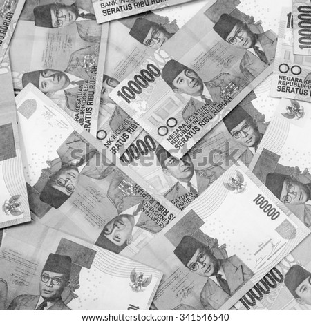 Black and white color of one hundred thousand  Indonesia Rupiah currency,money got profit from business - stock photo