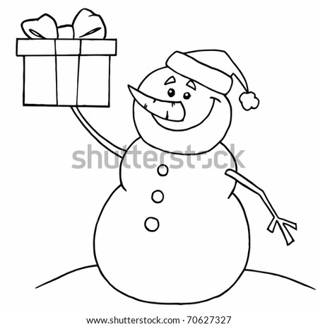 Black And White Coloring Page Outline Of A Snowman Holding A Gift - stock photo