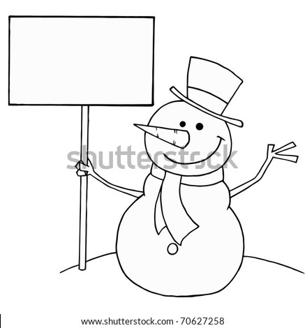 Black And White Coloring Page Outline Of A Snowman Holding A Sign - stock photo