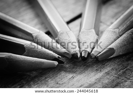 black and white colour pencils - stock photo