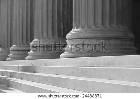 Black and white columns and stairs in Vienna, greek style
