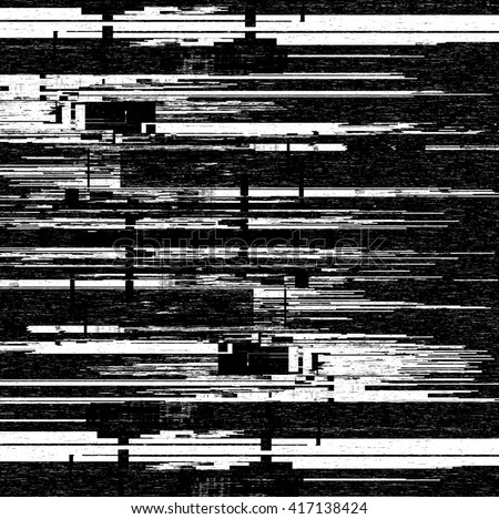 Black and white computer glitch texture  - stock photo