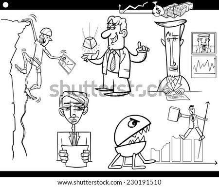 Black and White Concept Cartoon Illustration Set of Business Concepts and Metaphors - stock photo