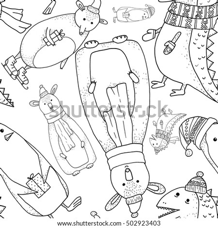 Black and white contour animals (penguin, dinosaur, mice, bear) pattern on white background