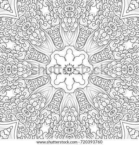 Black And White Contour Mandala In Tibetan Iconography Style Adult Coloring Book Design Illustration