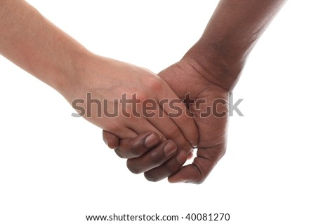 black and white couple holding hands - stock photo
