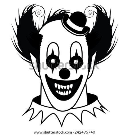 Black and white Creepy Clown stock illustration - stock photo