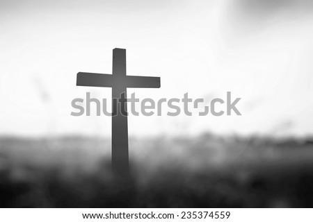 Black White Cross Symbol Christian Resurrection Stock Photo Royalty