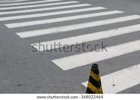 Black and white crosswalk on the road  in Korea.