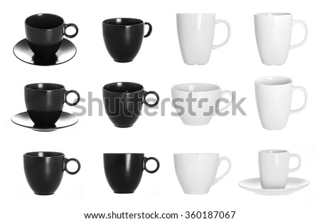 black and white cup isolated on white background. set of cups for design.