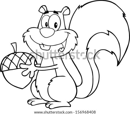 Black And White Cute Squirrel Cartoon Mascot Character Holding A Acorn. Raster Illustration  - stock photo
