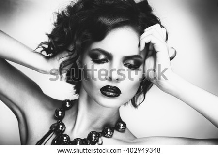 black and white dark short hair beauty woman portrait fashion model on white background - stock photo