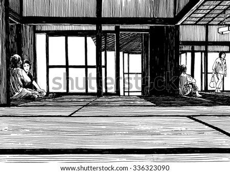 Black and white dashed style sketch, line art, drawing with pen and ink. Retro vintage picture.