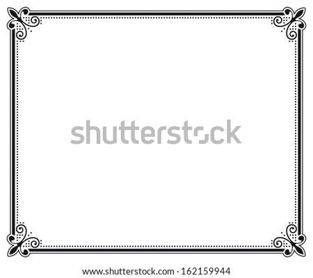 black and white decorative frame - stock photo