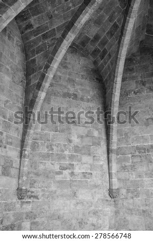 Black and white detail take of a ribbed vault - stock photo