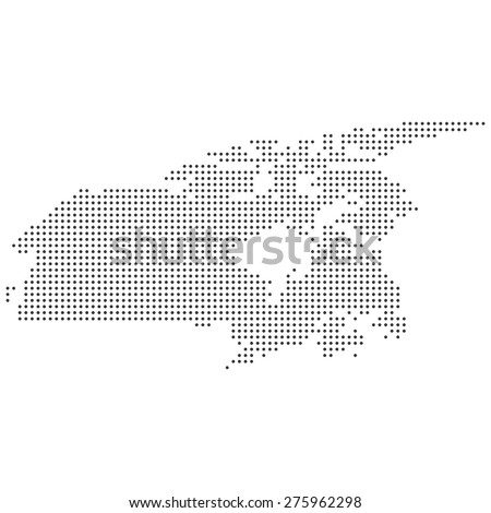 Black White Detailed Dotted Canada Map Stock Illustration