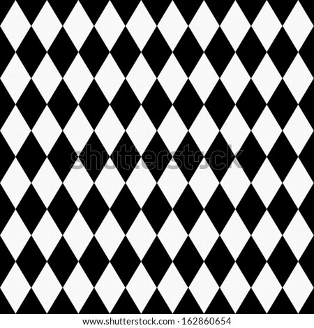 Black and White Diamond Shape Fabric Background that is seamless and repeats - stock photo